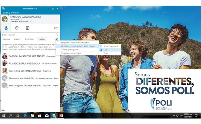 Seleccionamos la opción Skype