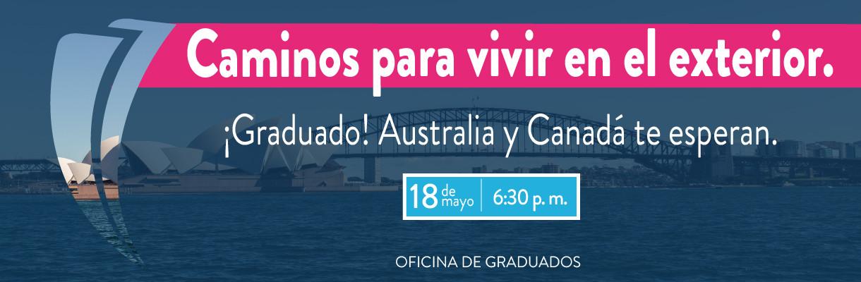 """La Oficina de Graduados en alianza con RC Australia, te invitan a participar de la charla exclusiva para Graduados Poli: """"Caminos para vivir en el exterior, ¡Australia y Canadá te esperan!"""", donde tendrás la oportunidad de conocer las posibilidades que te"""