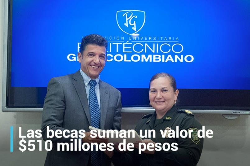 Javier Arango, vicerrector de desarrollo institucional y la coronel Ana Beatriz Ramos