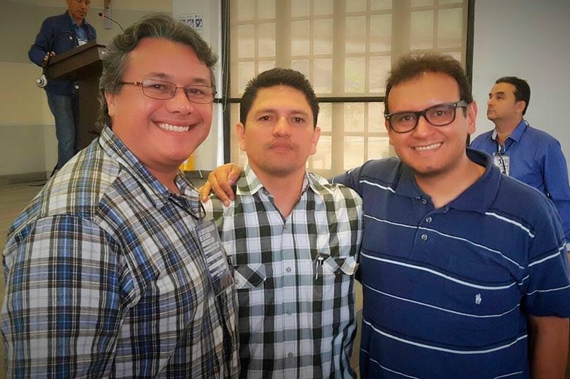 Álvaro Rodríguez, Director de PoliRadio. Elier Hernández, nuevo Presidente de la RRUC, Nestor Ballesteros, nuevo Vicepresidente de la Regional Centro.