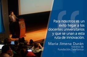 Maria Jimena Durán, vocera de Fundación Telefónica, aliado estratégico del proyecto, indicó que este convenio busca que los docentes se capaciten de forma virtual y presencial, con un acompañamiento permanente