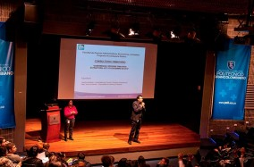 Los docentes: Alejandra Bautista y Jimmy Alvarado